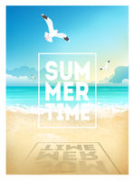 Summer beach background with sea, sky, seagulls and sunrise. Summer placard poster flyer invitation card. Summertime.