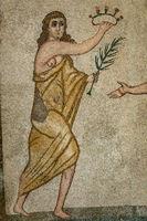 Ancient bikini girl of mosaic stones in Sicily