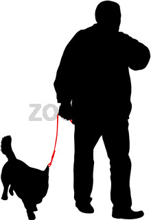 Silhouette of man and dog on a white background