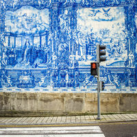 Street of Porto, decorated with azulejos tiles