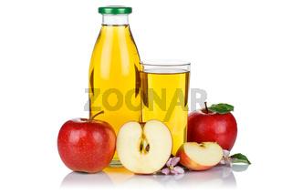 Apfelsaft Apfel Saft frisch Äpfel Flasche Fruchtsaft freigestellt isoliert