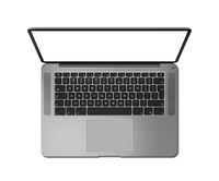 Open laptop top view with blank screen, isolated on white. Dark silver. 3D render