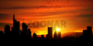 Großstadt Skyline Panorama als Silhouette