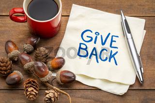 Give back handwriting on napkin
