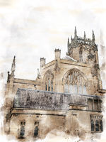 a watercolor painting side view of leeds minster with tower