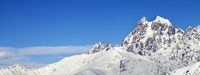 View on Mount Ushba in winter at sunny day