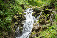 An impressive waterfall in a gorge in Austria