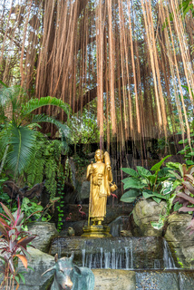 Water features along the Staircase in the garden of the Golden Mount in Bangkok