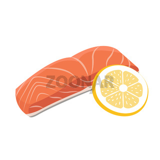 Meat vector - red fish salmon steak with lemon cuts. Fresh meat icon.