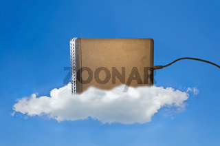 Hard disk on a cloud in the blue sky as a symbol for cloud storage
