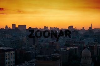 Cairo city Egypt with sunset sky