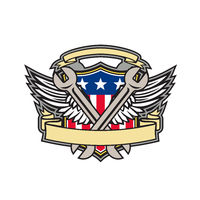 Crossed Wrench Army Wings American Flag Shield