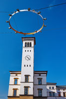 Historic Railway Station Tower in Erfurt, Thuringia, Germany