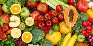 Fruits and vegetables collection food background banner apples oranges tomatoes fresh fruit vegetable