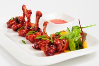 fried chicken wings in pomegranate sauce