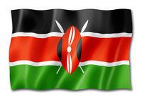 Kenyan flag isolated on white