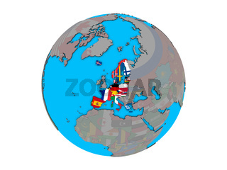 Schengen Area members with flags on globe isolated