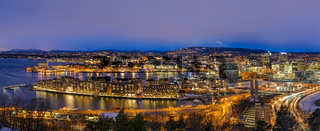 Oslo Norway Scandinavia, night aerial view panorama city skyline at business district and Bercode Project