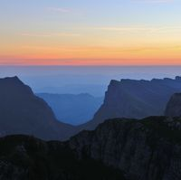Valley named Justistal. Sunrise view from Mount Niederhorn. Mountain landscape in the Bernese Oberland.