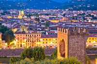 Florence rooftops and tower of San Niccolo evening view