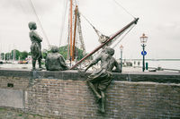The three cabin boys of Captain Bontekoe in the port of Hoorn in the Netherlands