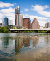 The Colorado River Flows By Parks and Buildings in Austin Texas
