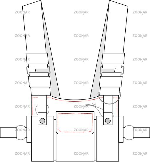 Vector illustration of work vest. Front view - Vektorgrafik
