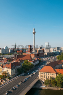 Berlin skyline aerial with tv tower and red city hall
