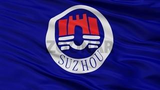 Suzhou City Flag, China, Closeup View