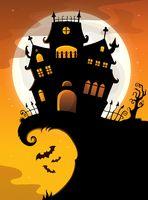 Halloween house silhouette theme 2