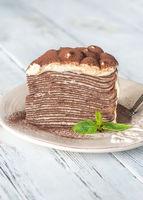 Slice of tiramisu crepe cake