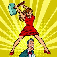 Woman beats a man with a hammer