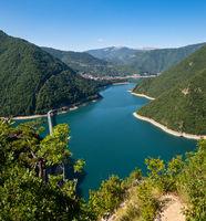 Piva Lake (Pivsko Jezero) view in Montenegro.