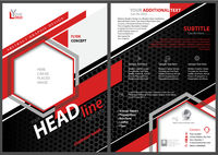 Abstract Flyer Template with Black and Red Shapes