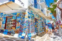 Street in Mykonos town with souvenir shop