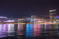 Abstract view on night Hong Kong city cityline with motion light trails