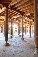 Juma masjid (X century)- the Friday mosque with Wooden Columns in the Khivan fortress Ichang-Kala. Khiva