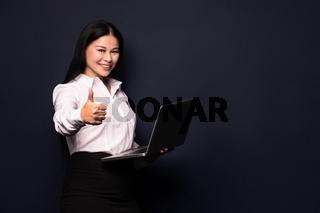 Brunette woman hug laptop