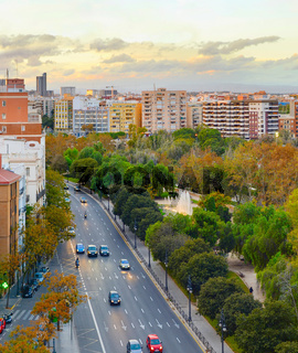 Valencia city road traffic, Spain