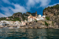 Panoramic view of Atrani, small village on Amalfi Coast, Italy