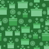 Green Wrapping Christmas Seamless Paper with Boxes and Snowflakes for Gift.