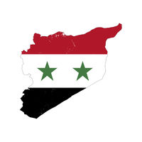 Syria country silhouette with flag on background, isolated on white