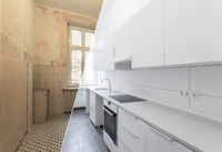 new kitchen before and after renovation - white kitchen,