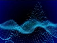 Digital landscape with flowing dots. 3D particle sound waves.