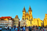 PRAGUE - AUGUST 28: Old town square with people on August 28