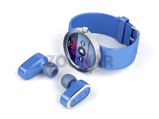 Blue wireless earphones and smartwatch