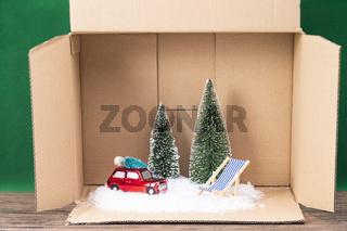 Modell Landschaft im Winter in einer Box