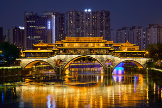 Anshun bridge at night, Chengdu, China