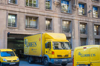 Yellow Correos post trucks