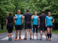 portrait of runners team on morning training